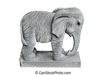 éléphant, pierre, isolé, gris, statue, blanc