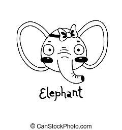 éléphant, simple, mignon, vecteur, figure, illustration, style., dessin animé
