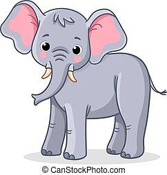 éléphant, vecteur, arrière-plan., blanc, stands, ...