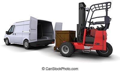 élévateur, fourgon, chargement, camion