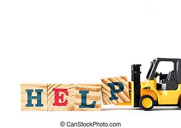 élévateur, lettre, bloc, jouet, complet, aide, fond, blanc, p, prise, mot