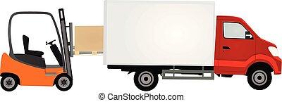 élévateur, livraison, chargement, récipient, camion