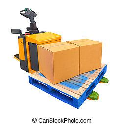 élévateur, -, pallet camion, sentier, inclure, boxs