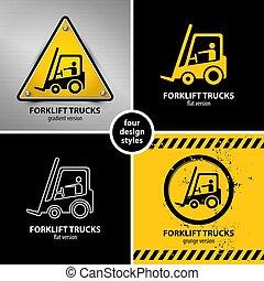 élévateur, symboles, ensemble, avertissement, camion