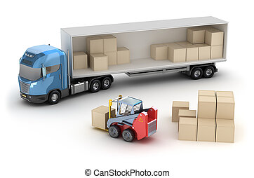 élévateur, truck., chargement