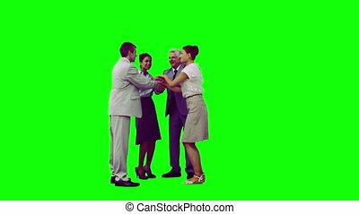 élévation, équipe, lent, leur, mouvement, travail, bras, heureux