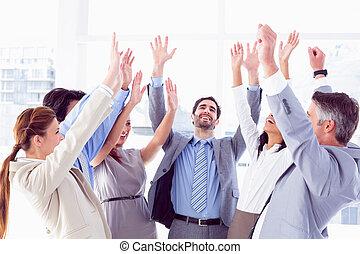 élévation, équipe, mains, leur, business