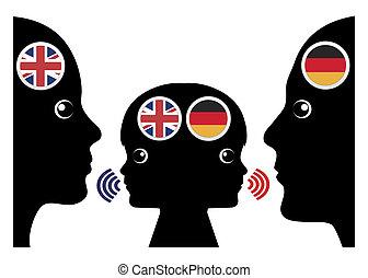 élévation, enfant, bilingue