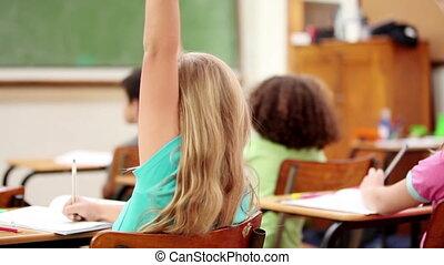 élévation, leur, élèves, doigts, heureux