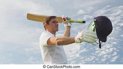 élévation, mains, angle, vue, sien, bat cricket, bas