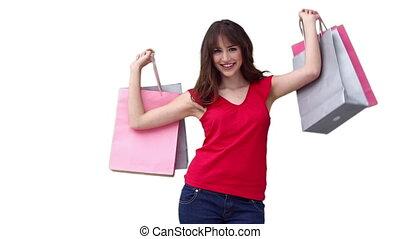 élévation, marche, sacs, quoique, achats, femme