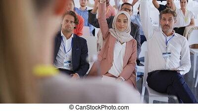 élévation, questions, mains, demander, présentation, business, leur, audience