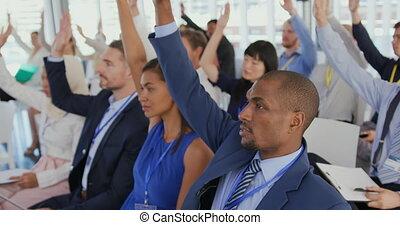 élévation, questions, mains, demander, séminaire, audience