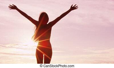élévation, serein, -, heureux, heureux, sentiment, haut, ...