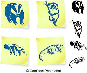 él, animal, dibujos, poste, notas