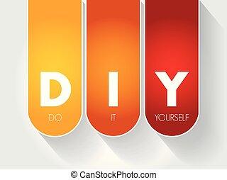 él, diy, -, siglas, usted mismo