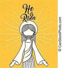 él, es, levantado, jesucristo, religioso, cartel