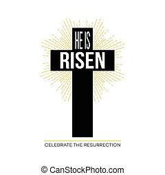 él, es, risen., pascua, fondo., vector, ilustración