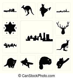 élan, ensemble, étoile, contour, icônes, kangourou, kentucky, état, fond, poisson rouge, castor, haïti, koala, raton laveur, blanc, tête, david