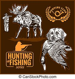 élan, sien, elements., chasse, chasse, canard, chien, conception, dents, sauvage, logo