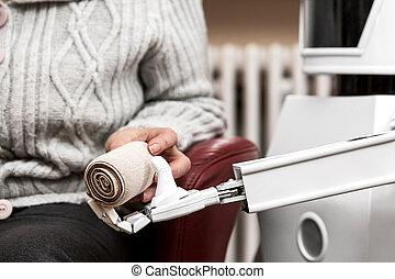 élastique, robot, bandage, tenue, autonome, caregiver