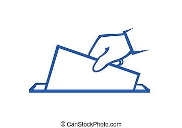 électeur, lancement, isolé, fond, blanc, vote
