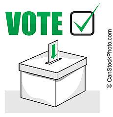 élection, boîte, vote, -