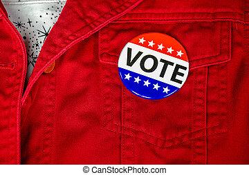 élection, campagne, vote, bouton, veste, rouges