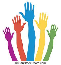 élection, général, vote, hands.