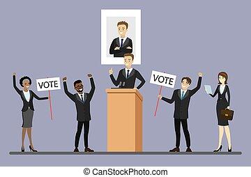 élection, mâle, candidat, tribune, politicien, debout, campagne