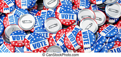 élection, vote, écusson, fond, 2016, illustrations, 3d, bouton