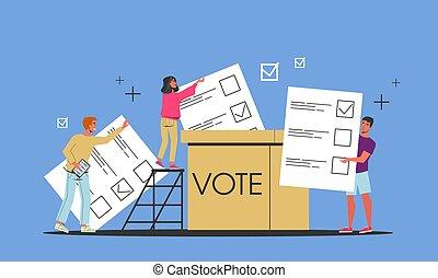 élection, vote, candidat, gens, campaign.