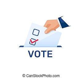 élections, élection, ballot., vote, jour, concept, politique, met, main, illustration.