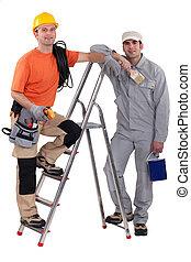 électricien, échelle, tenu, peintre