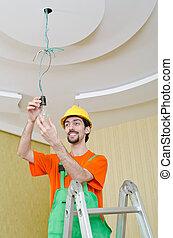 électricien, éclairage, fonctionnement, câblage