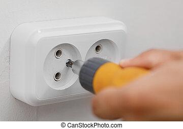 électricien, électrique, installation, douille