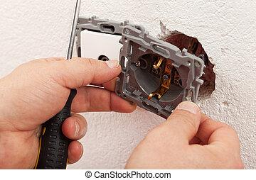 électricien, électrique, mur, monture, rencontre, mains