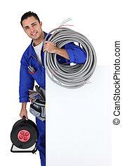 électricien, affiche, tenu, câble, extension
