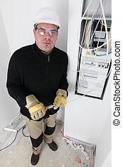 électricien, câblage, a, fusebox