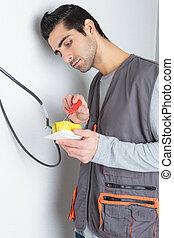 électricien, câblage, commutateur
