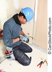 électricien, câblage, installation, système