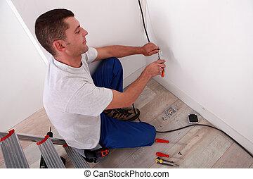 électricien, câblage, maison