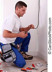 électricien, câblage, préparer
