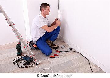 électricien, câbles, installation