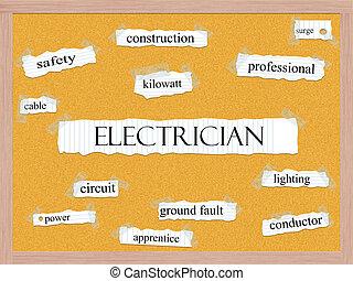 électricien, concept, corkboard, mot