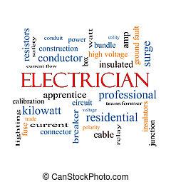 électricien, concept, mot, nuage