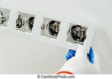 électricien, décoratif, installs, frame.