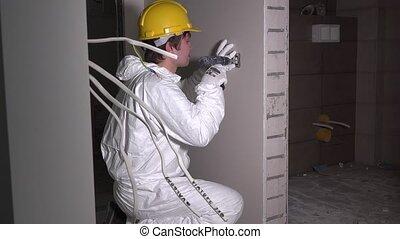 électricien, douille, câble, mur, lumière, ouvrier, ...