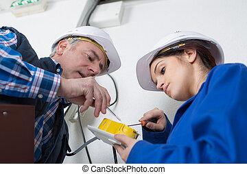 électricien, douille, mur, installation, tournevis, électrique, femme, jeune