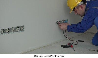 électricien, douille, mur, outillage, tension, professionnel, utilisation, mâle, chèque, spécial